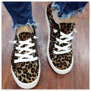 Leopard white lace sneakers